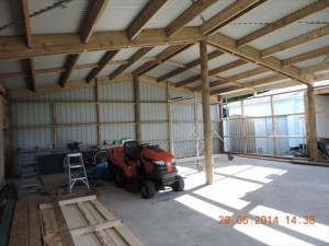 The inside of the garage nearly completed.